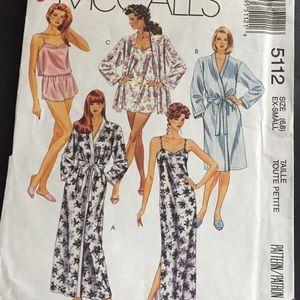 Vintage 90s Misses Sleepwear Sewing Pattern XS